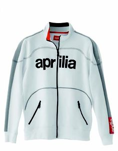 2012 Aprilia Full zip sweatshirt - men: #technical fleece #jacket in cotton mix 65% cotton and 35% pl. Abrasion resistant, easy care fabric; insert in shoulders in contrasting colour; large pockets with zips; elasticated ribbing on waistband, cuffs and collar; carbon-look #Aprilia graphics on chest #motorbike #motorcycle #sport #white #sweatshirt