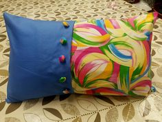 fabulous summer cushion complete with self covered buttons made during The Introduction to Sewing Class at The Edinburgh Sewcial Club  #sewing #Edinburgh #sew #EdinburghSewingClasses