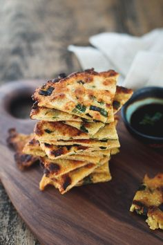 Most like the texture of flatbread, these gluten-free scallion pancakes are incredibly crispy with a slightly chewy bite.