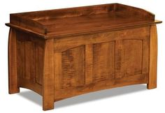 Amish Royal Heritage Mission Blanket Chest Proudly made by hand with solid wood. A stunning wood blanket chest for bedroom, hallway or foyer. Custom made in choice of wood and stain. #blanketchest #hopechest