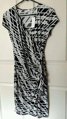 NWT DRESS New York & Company Stretch Cap Sleeve Black White Grey Size Small New #NewYorkCompany #WrapDress #WeartoWork