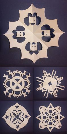 """DIY 5 Superhero Snowflake Templates from Comic Book Resources. These are by Sonia Harris who writes: """" So here are five snowflake templates to print and cut out, each based on a different superhero; Batman,Storm (I used her old headdress, who knows..."""