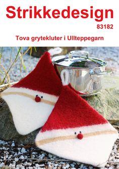 83182---tova-grytekluter-1 gratis oppskrift Christmas Crafts, Christmas Ornaments, Joy To The World, Xmas Decorations, Pot Holders, Christmas Stockings, Knit Crochet, Diy Crafts, Knitting
