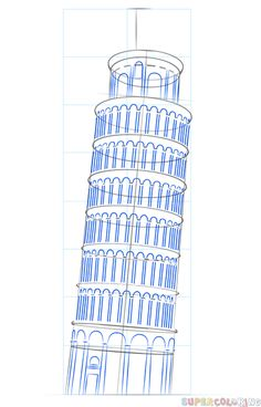 How to draw the leaning tower of Pisa step by step. Drawing tutorials for kids and beginners. Interior Architecture Drawing, Architecture Drawing Sketchbooks, Interior Design Sketches, Pisa Tower, 3d Art, Drawing Tutorials For Kids, Building Drawing, Oil Pastel Drawings, Perspective Art
