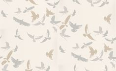 Flock of Birds (394032) - Brewers Wallpapers - A flock of birds in metallic and matt silver greys fly across a soft white matt background. Paste the wall. Please request sample for true colour match.