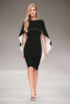 The complete Escada Resort 2017 fashion show now on Vogue Runway.Escada Resort 2017 Fashion Show - Love this black and white cape dress!Moda y tendencia Supernatural StyleKeeper of the lost cities Cover capeSee all the Collection photos from Escada S Fashion 2017, High Fashion, Fashion Show, Fashion Dresses, Womens Fashion, Fashion Design, Space Fashion, Street Fashion, Fashion Cape