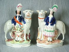 Pair Staffordshire Royal children with sheep For Sale | Antiques.com | Classifieds