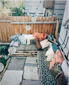 A cushy bohemian patio.