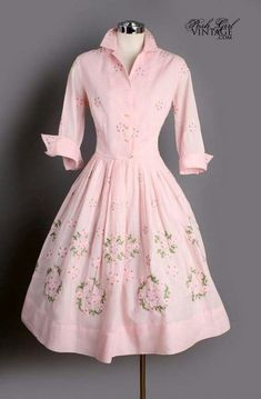 Can you imagine cooking and cleaning and gardening in this dress? Vintage Pink Cotton Embroidered French Cuff Dress-for when I become June Cleaver ; 1950s Fashion, Vintage Fashion, Modest Fashion, Fashion Dresses, Vintage Dresses, Vintage Outfits, Vintage Clothing, 1950s Dresses, Vintage Mode