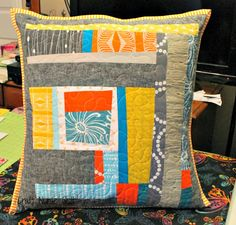 improvisational quilted pillow