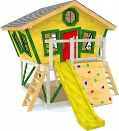 Slanted Shack Playhouse Plan for Kids – Paul's Playhouses Inside Playhouse, Playhouse With Slide, Kids Playhouse Plans, Kids Indoor Playhouse, Backyard Playhouse, Build A Playhouse, Wooden Playhouse, Playhouse Kits, Simple Playhouse