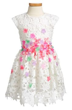 Halabaloo Flower Appliqué Lace Party Dress (Toddler Girls, Little Girls