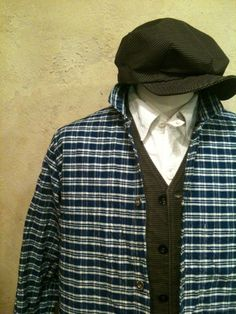 1900' Blue Check Pattern Round Neck Jacket
