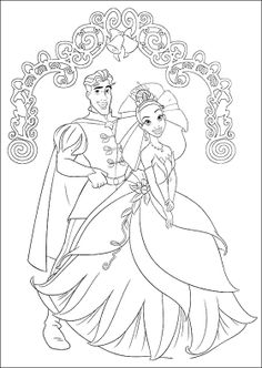 Naveen And Tiana Wedding Coloring Pages