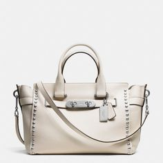 Coach Swagger Lacquer Rivet Carryall No. 35792 Warm Roller Nickel/Cream :: Handbags