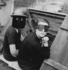 Women in fire masks in wartime London. Lee Miller, 1944