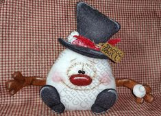 Made to Order - Snowball the Snowman - Finished Handmade Primitive Doll - OOAK