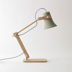 Trumpet Lamp by Marcel OSSendrijver - beech and cast clay. Industrial Lighting, Industrial Style, Industrial Design, Sustainable Furniture, Creation Deco, Mid Century Decor, Light Table, Light Shades, Desk Lamp