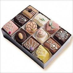 Original Petits Fours Assortment Box of 35 Full Size - Petits Fours - Roses And Teacups Chocolate Eclair Pie, White Chocolate Truffles, Mocha Chocolate, Chocolate Cake, Chocolate Buttercream, Tea Cakes, Mini Cakes, Cupcake Cakes, Eclair Cake Recipes
