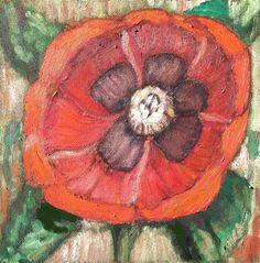 "Daily Paintworks - ""Deep & Dark Poppy"" - Original Fine Art for Sale - © Mary Aikens"