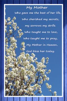 A Poem for My Mother in Heaven ♡always thinking about her. Mother's Day In Heaven, Mother In Heaven, Angels In Heaven, Mom Poems, Mom Quotes, Grief Poems, Qoutes, Mom I Miss You, Mom And Dad