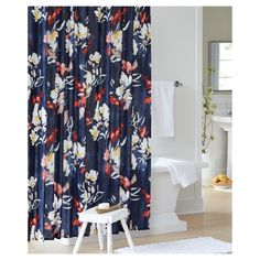 Refresh your bathroom decor with the Threshold Floral printed shower curtain. Floral pattern easily creates relax atmosphere and brings you into a spring romance. Made of easy-to-clean cotton . Buttonhole openings for hanging.