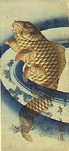(Japan) Carp by Katsushika Hokusai woodblock print. Japanese Artwork, Japanese Painting, Japanese Prints, Art Koi, Fish Art, Japanese Illustration, Art Et Illustration, Illustrations, Art Occidental