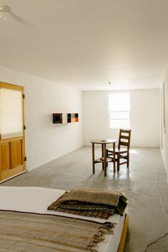 rustic modern bedroom space.