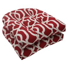 Outdoor 2 Piece Wicker Seat Cushion Set   Red/White Geometric
