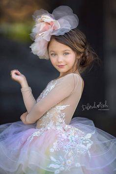 Baby Girl Party Dresses, Little Girl Dresses, Baby Dress, Lace Flower Girls, Lace Flowers, Flower Girl Dresses, Little Girl Photography, Rainbow Tutu, Gowns For Girls