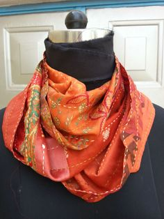 Infinity Scarf- -orange / The Stitching Project Re-cycled silk sari + patchwork + hand stitched details = cheerful, cosy scarf. People Working Together, Hooded Scarf, Dress Ideas, Hand Stitching, New Work, Color Splash, Infinity, Sari, Couture