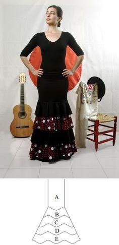 Flamenco dance skirt - Tight fitting Lycra skirt with 4 flounces