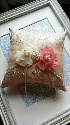 Vintage Inspire Lace Ring Pillow in Peach, Weddings, Ring Bearer Pillow, Bride, Ring Pillow,