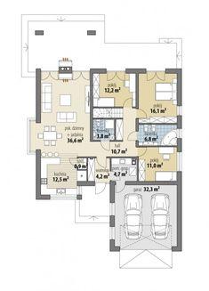 Piwonia - Dobre Domy Flak & Abramowicz Modern Bungalow House, Bungalow House Plans, Craftsman House Plans, 20x30 House Plans, Dream House Plans, Small House Plans, Diy Home Bar, Beautiful House Plans, European House Plans