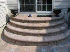 Home improvement advice needed- rear door entry steps - Corvette Forum Concrete Front Steps, Brick Steps, Concrete Porch, Concrete Patios, Patio Steps, Outdoor Steps, Front Door Steps, Side Door, Backyard Patio Designs