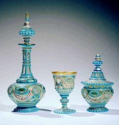 Ancienne Baccarat Overlay Opaline Service Pour marché Ottoman XIXe Türkiye