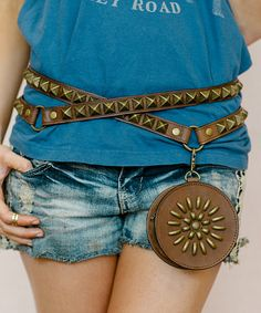 Brown Leather Stud Wrap Hip Bag | zulily  #streetstyle