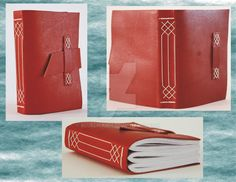 This is a small leather notebook/journal I made as a Christmas present. It is A6 size with a rich red leather cover. The cover closes with a strap through a band on the front cover. The paper is 80...