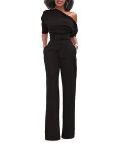 685e8c70fc66 Women s Sexy One Shoulder Solid Jumpsuits Wide Leg Long Romper Pants With  Belt - Black - CT18C3TGQIY