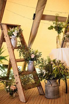 Botanical Outdoor Wedding at Hill Top Farm in Cheshire with Tipi Reception Rustic Step Ladder Floral Decor - Paul Joseph Photography Ladder Wedding, Tipi Wedding, Marquee Wedding, Wedding Themes, Wedding Flowers, Wedding Decorations, Wedding Rustic, Wedding Ideas, Wedding Hair