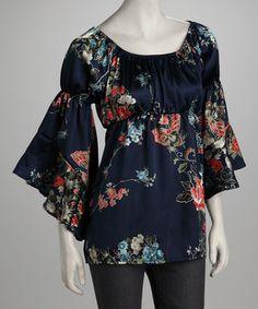 Look at this #zulilyfind! Navy Floral Bell-Sleeve Top by GLAM #zulilyfinds