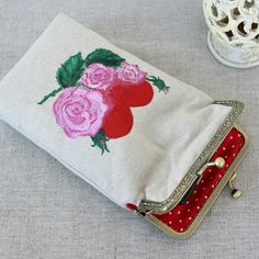 Handpainted heart & roses on the linen phone wallet