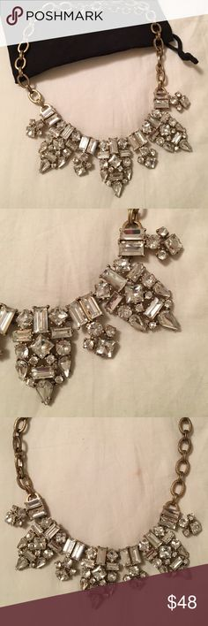 J.Crew Statement Necklace Silver and gold J. Crew statement necklace! Perfect sparkle for the holidays! J. Crew Jewelry Necklaces