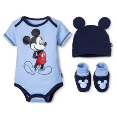 Disney® Newborn Boys' 3 Piece Mickey Mouse Gift Set - Blue 0-6 M