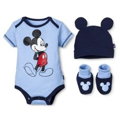 Disney® Newborn Boys' 3 Piece Mickey Mouse Gift Set - Blue 0-6 M