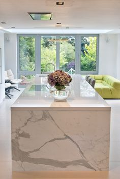 Roundhouse bespoke Urbo kitchen island with Carrara marble downstand