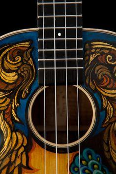 Handmade Koa Tenor Ukulele, handcrafted by Jay Lichty, artwork by Clark Hipolito