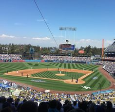 THINK BLUE: The game was sold out but I still made it to Opening Day at Dodgers Stadium! Cool ballpark but it wasn't quite the Bronx ;) #LADodgers #OpeningDay #MLB by paulykimball