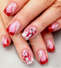 Pink and White Gel Enhancement with hand painted bows.