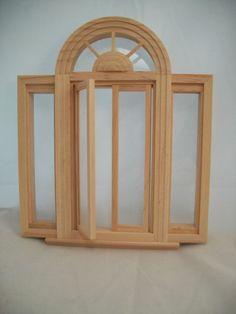 Window Circlehead Casement 5049  w/ trim dollhouse miniature wooden 1/12 scale #Houseworks